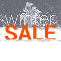 Winter sale tag christmas new year price or discount card snow falling and tree Stock Photos
