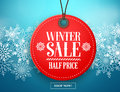 Winter sale tag vector banner. Red sale tag hanging in white winter snow flakes