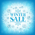 Winter Sale Text in White Space with Snow Flakes Royalty Free Stock Photo