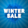Winter sale title on abstract blue background Stock Images