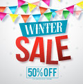 Winter sale vector banner design for promotions with hanging colorful streamers