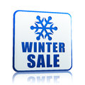 Winter sale white banner with snowflake symbol Royalty Free Stock Image