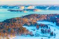 Winter scandinavian scenery of sunset in fjords Stock Images