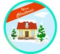 Winter scene with a decorated house for Christmas in snow in the style of flat. Firs in the snow, a rough illustration fits like a