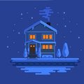 Winter scene with european city at night time. Beautiful house covered snow. Xmas concept made in . Seasonal Royalty Free Stock Photo