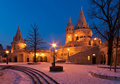 Winter scene of the Fisherman's Bastion, Budapest Royalty Free Stock Photos