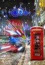 Winter scene on a London shopping street Royalty Free Stock Photo