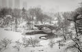 Winter scene in new york city snowstorm in central park s pond and gapstow bridge during a ducks are huddling against the cold of Stock Images