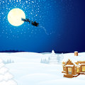 Winter Scene with Santa Claus Wooden House Royalty Free Stock Photo