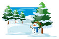 Winter scene with snowman in the snow field Royalty Free Stock Photo