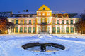 Winter scenery of abbots palace in snowy park gdansk poland Stock Photos