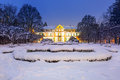 Winter scenery of abbots palace in snowy park gdansk poland Royalty Free Stock Images
