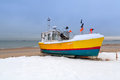 Winter scenery of fishing boats at baltic sea in poland Royalty Free Stock Image