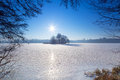 Winter scenery of frozen lake Stock Photos