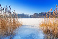 Winter scenery of frozen lake Stock Photo