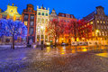 Winter scenery of the long lane street in gdansk on january baroque architecture is one most notable Stock Image