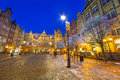 Winter scenery of the long lane street in gdansk on january baroque architecture is one most notable Royalty Free Stock Photography