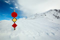 Winter scenery snow covered mountain with a signpost signs removed selective focus Stock Image