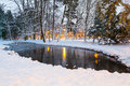 Winter scenery of snowy park in gdansk poland Royalty Free Stock Images