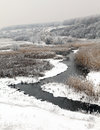 Winter scenic of the River Kalynova, Makeevka Stock Photos
