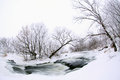 Winter scenic of the River Krynka, Donetsk region, Ukraine Stock Photography