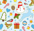 Winter seamless background bright with symbols of Stock Photo