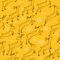 Winter seamless pattern with cute jumping deers on yellow backgr
