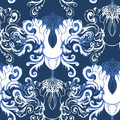 Winter seamless pattern with decorative element vintage Royalty Free Stock Photo