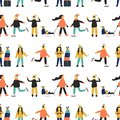 Winter seamless pattern with people