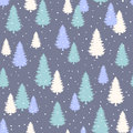 Winter Seamless Pattern with stylized evergreen pine trees