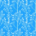 Vector Winter seamless pattern. Wild flower branch hand drawing white illustration isolated on blue background. Royalty Free Stock Photo
