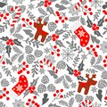 Winter seamless vector pattern with holly berries, candy, deer, christmas socks. Part of Christmas backgrounds collection. Can be Royalty Free Stock Photo