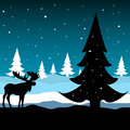 Winter season abstract colorful illustration with a moose standing in front of a fir tree on a cold night Royalty Free Stock Photo