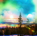 Winter season scene in norway mountains trysil Royalty Free Stock Photography