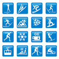 Winter season web icons buttons with and symbols of vector illustration Royalty Free Stock Photo