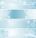 Winter seasonal banners in blue are presented Royalty Free Stock Image