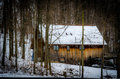 Winter seclusion wooden cabin in in columbiana county ohio usa Stock Images