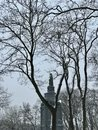 A winter seen displaying a Monument to the Great Prince of Kiev Vladimir Royalty Free Stock Photo