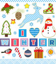 Winter Set Textile Element Stock Photography