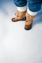 Winter shoes in snow Royalty Free Stock Images