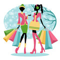 Winter shopping girls Royalty Free Stock Photo