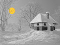 Winter silent night landscape hand drawn idyllic peaceful scene Royalty Free Stock Photography