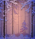 Winter silhouette of coniferous forest colors of the sunset illustration Royalty Free Stock Image