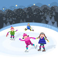 Winter on skating children fun snow Royalty Free Stock Images