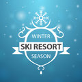Winter ski resort season on blue background ribbon Stock Photos