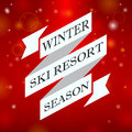 Winter ski resort season on red background ribbon Stock Photography