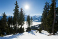 Winter with ski slopes of kaprun resort next to kitzsteinhorn peak in austrian alps Royalty Free Stock Image