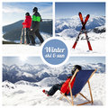 Winter ski and sun snow Stock Images