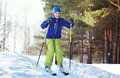 Winter skier child boy in sportswear skiing over snow Royalty Free Stock Photo
