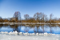 Winter small river ice floes floating on under the blue sky Stock Images